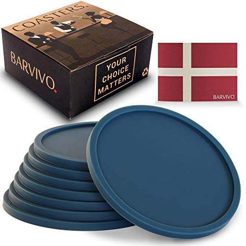 Barvivo Drink Coasters Set of 8 - Tabletop Protection for Any Table Type, Wood, Granite, Glass, Soapstone, Marble, Stone Tables - Perfect Blue Soft Coaster Fits Any Size of Drinking Glasses. (Tilt Wine Coaster)