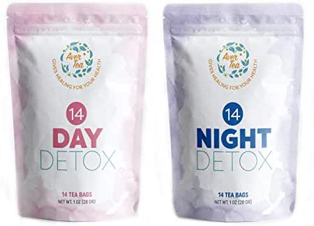 Aver Tea 14 Day and Night Detox Cleanse Weight Loss Tea - Slim Tea for Weight Loss and Belly Fat with All Natural Organic Herbal Ingredients Help Reduce Bloating, Boost Metabolism and Release Toxins