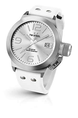 TW Steel Men's 'Canteen' Quartz Stainless Steel and Silicone Dress Watch, Color:White (Model: TW535)