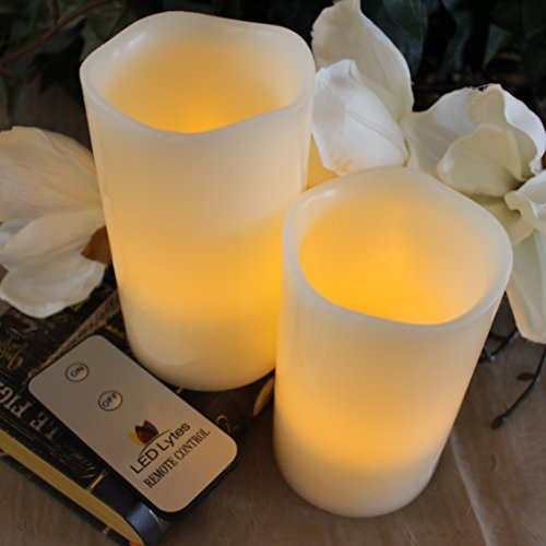 LED Lytes Flameless Candles Flickering 2 Ivory Wax Amber Yellow Flame Pillars Battery Operated Candles with Remote for Parties, Weddings Decorations