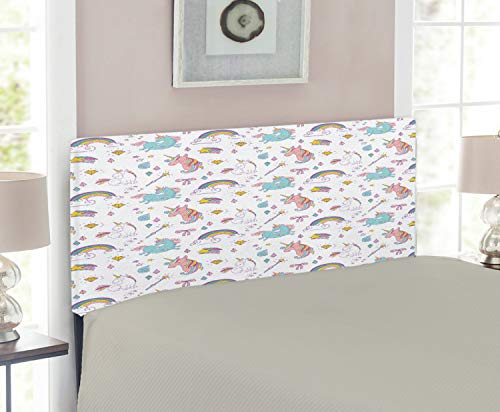 Room Headboard Twin Magic - Lunarable Unicorn Headboard for Twin Size Bed, Magic Unicorn Forms with Colorful Cartoon Fantasy Cloud and Rainbow Pattern Print, Upholstered Decorative Metal Headboard with Memory Foam, Multicolor