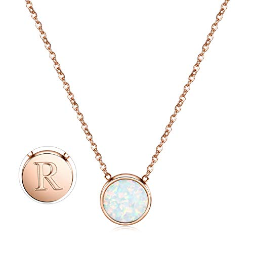 CIUNOFOR Opal Necklace Rose Gold Plated Round Disc Initial Necklace Engraved Letter R with Adjustable Chain for Women Girls (Engraved Thin)
