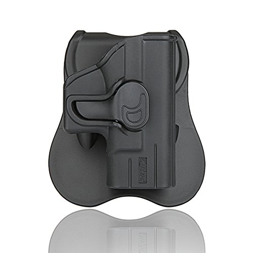 OWB Holsters for Glock 17 19 21 22 23 26 27 31 42 43, Trigger Release Paddle Holsters with Adjustable Cant Military Grade Polymer Holster 360 Degrees Rotation-Microfiber Cloth Included