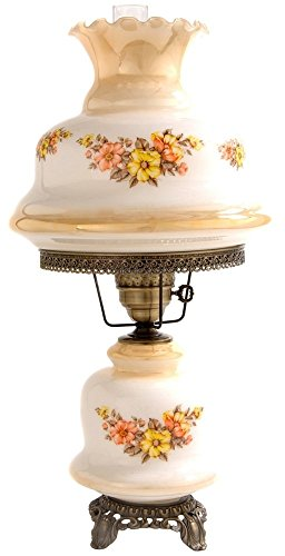 - Large Earth Tone Floral Night Light Hurricane Table Lamp