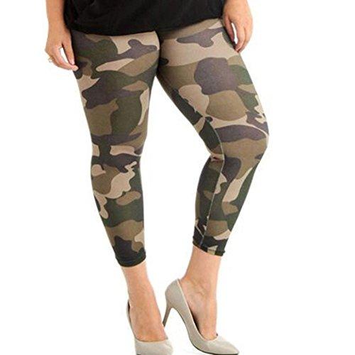 Women's Camouflage Casual Loose Yoga Pants Elastic Casual Mid Waist Short Sport Wide Leg Culottes Stretch Plus Size(L-4XL)-MOONHOUSE (L, Camouflage)