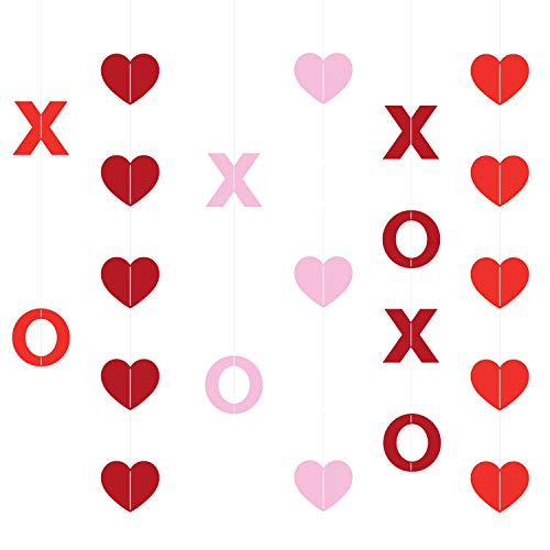 KatchOn XOXO and Heart Hanging Garland – No DIY, Pack of 27 | Valentines Day Decorations for Home, Outdoor, Tree, Office, Window, Classroom | Felt Heart Garland Banner Backdrop -