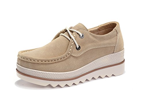 rm Lace up Shoes Comfort Low Top Suede Moccasins Fashion Casual Wedge Sneakers Khaki 39 ()