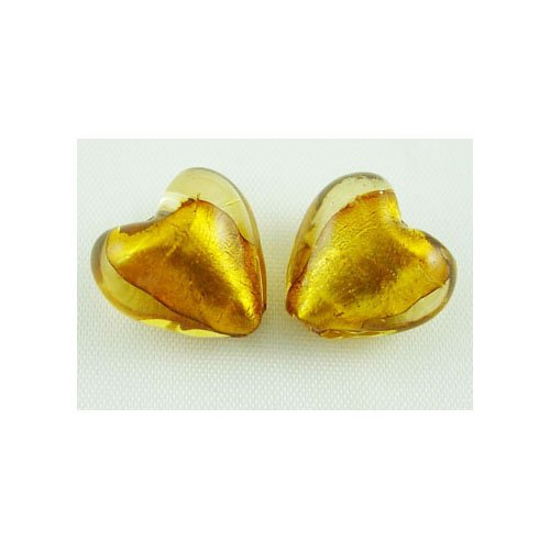 Packet 20 x Gold Foil Glass 12mm Puffy Heart Beads Y05170 (Charming Beads)