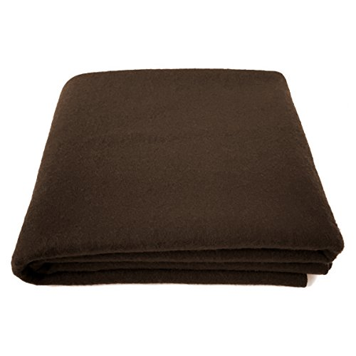 "EKTOS 80% Wool Blanket, Brown, Light & Warm 3.7 lbs, Large Washable 66""x90"" Size, Perfect for Outdoor Camping, Survival & Emergency Preparedness Use"