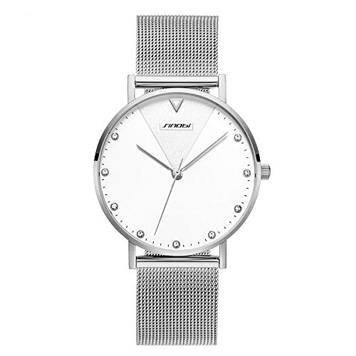 (SINOBI Creative Design Simplicity Women Watch Elegant Diamond Mesh Band Women Watches Ladies Wristwatch (S9709L-Silver-Mesh Band))