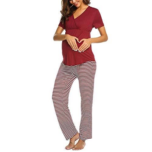 VEFSU Women Maternity V-Neck Nursing Baby T-Shirt Short Sleeve Tops+Stripe Pants Pajamas Set Red S