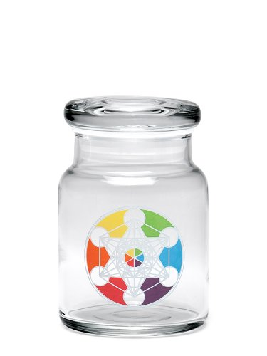420 Science Pop-Top Stash Jar with Metatron's Cube Decal - Assorted Sizes (Small)