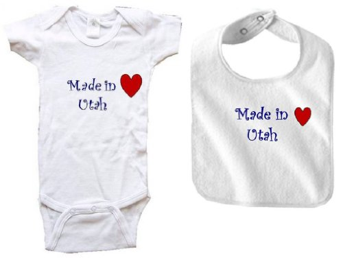 MADE IN UTAH - UTAH BABY - 2 Piece Baby-Set - State-series - White Baby One Piece Bodysuit / Baby T-shirt and White Bib - size Small - In University Utah Orem