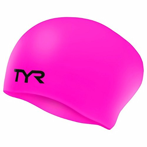 (TYR Long Hair Wrinkle-Free Silicone Swim Cap, Pink)
