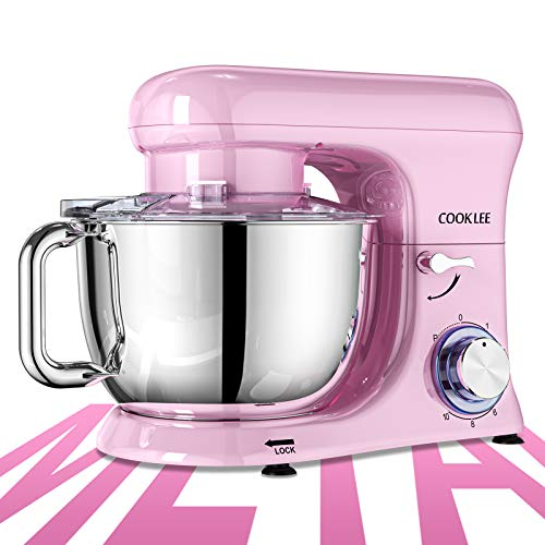 COOKLEE Stand Mixer, All-Metal Series 6.5 Qt. Kitchen Electric Mixer with Dishwasher-Safe Dough Hooks, Flat Beaters…