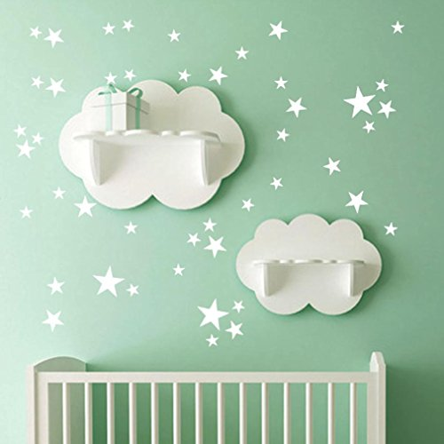 YJYDADA 38Pcs Star Removable Art Vinyl Mural Home Room Decor Kids Rooms Wall Stickers (White)