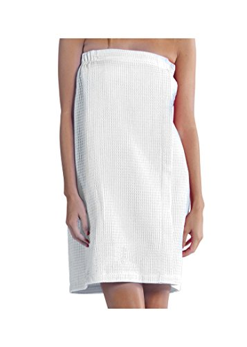 robesale Lightweight Waffle Cover Up, Spa Bath Wrap Towel for Women, WHITE
