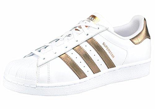 Unbekannt - Zapatillas de Piel para hombre blanco Weiß 40 White/Gold