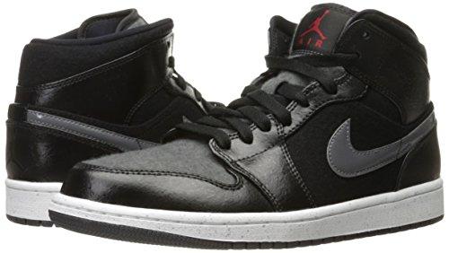 Nike Mens Air Jordan 1 Mid Scarpe Da Basket Nero / Palestra Rosso-grigio Scuro-bianco