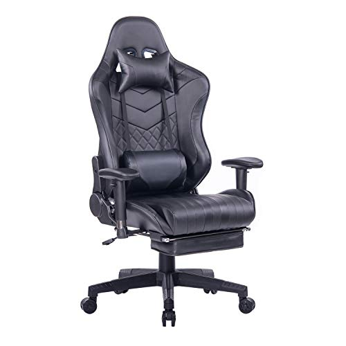 Blue Whale Gaming Chair with Footrest, Reclining High Back Executive Office Desk Chair PU Leather Racing PC Computer Video Game Chair with Headrest and Lumbar Pillow BW-194 Black