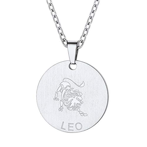 (FaithHeart Customizable Astrology 12 Constellation Horoscope Necklace, Stainless Steel Leo Zodiac Star Sign Coin Pendant Necklace Birthday Gifts Lucky Charms Layered Necklace (Silver))