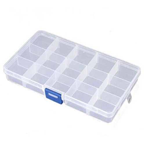 Aketek 15 Clear Adjustable Jewelry Bead Organizer Box Storage Container Case (15 Grids)