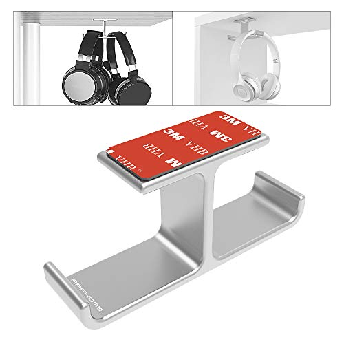 APPHOME Headset Holder with Aluminum 3M Adhesive Under Desk Headphone Stand for All Headphones, - Mount Drawer Adhesive