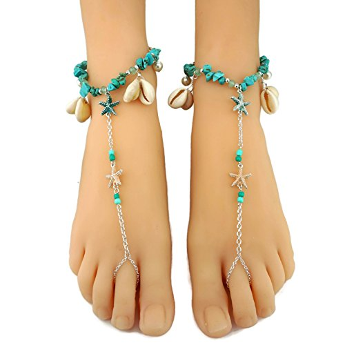 Sealife Theme Starfish Charm Cowry Shell Turquoise Pebbles Barefoot Sandals Anklets (Sold as Pair)