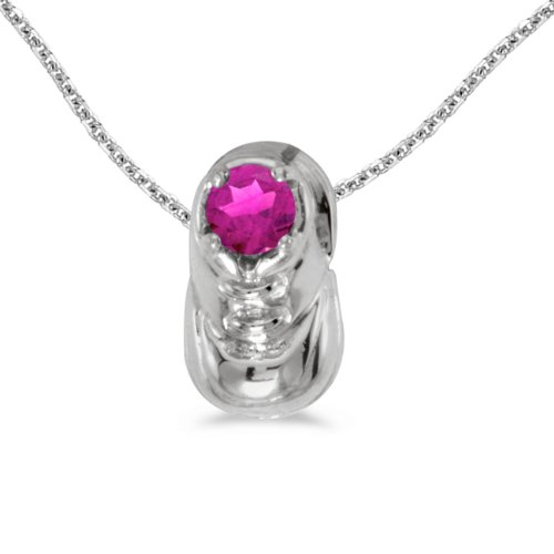 Sonia Jewels 14k White Gold Genuine Birthstone Round Pink Topaz Baby Bootie Pendant (0.3 Cttw.) - Includes 14k Gold Cable Chain 18