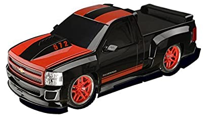 Chevy Silverado Electric RC Truck - 1/18 Scale Model Truck - Black and Red with Racing Stripes