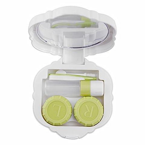 Mini Travel Contact Lens Case Box, Pretty Rose Contact Holder Contact Lens Container Kit for Contact Lens (White Out Contact Lens)