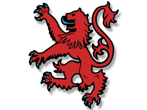American Vinyl Scotland Red Lion Shaped Rampart Sticker (Scottish Logo Insignia)