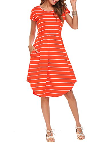 Qearal Women's Short Sleeve Pocket Casual Loose Mid Striped Dress(Orange, S)