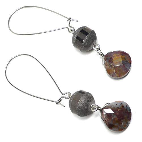 Designer Art Glass Earrings - Pietersite Briolette Glass Earrings Large Kidney Wires Silver-Tone