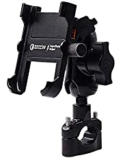 Twinto Aluminium Motorcycle Cell Phone Holder , QC 3.0 USB Socket with 360 ° Rotation IPX6 Waterproof Mobile Phone Holder for 4-6 inch Smartphone Samsung / Huawei / Android
