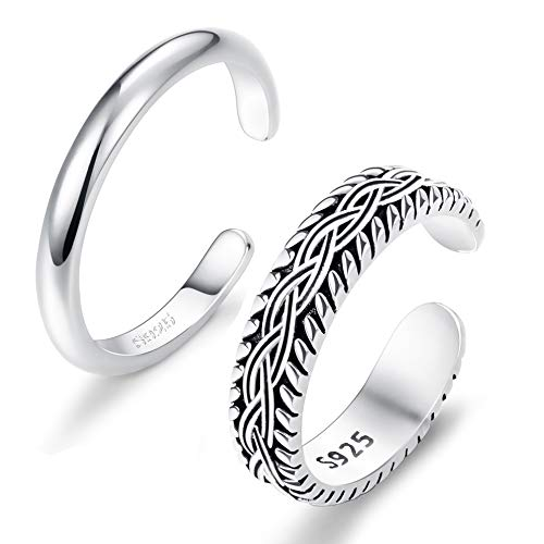 FUNRUN JEWELRY 2 PCS Sterling Silver Toe Ring for Women Girls Retro Vintage Design Adjustable Ring Set (A:Platinum Plated)