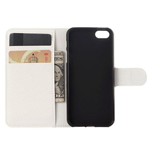 Protege tu iPhone, Para el iPhone 5 y 5s y la textura de SELitchi flotan horizontal la caja de cuero con el sostenedor y CardSlots y la carpeta Para el teléfono celular de Iphone. ( Color : Verde ) Blanco