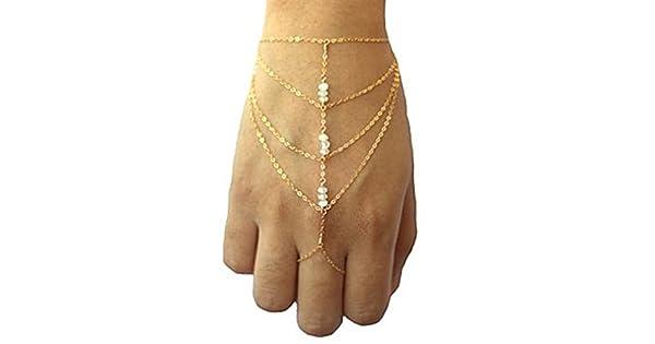 Amazon.com: Hecho a mano cadena pulsera pulsera arnés de ...