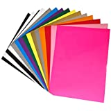 """Heat Transfer Vinyl HTV 15 Pack 12"""" x 10"""" Sheets for Iron On T Shirts - Assorted Colors - Black, White, Gold, Silver & More for Silhouette Cameo Or Cricut - Heat Press Machine (Assorted Colors 15)"""