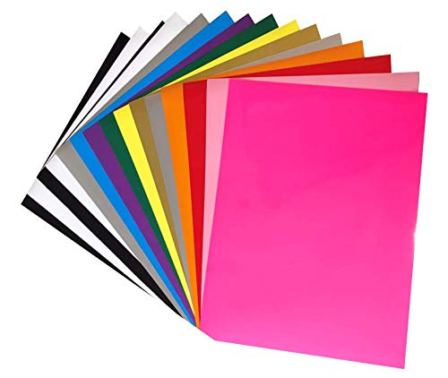 Heat Transfer Vinyl HTV 15 Pack 12 x 10 Sheets for Iron On T Shirts - Assorted Colors - Black, White, Gold, Silver & More for Silhouette Cameo Or Cricut - Heat Press Machine (Assorted Colors 15)