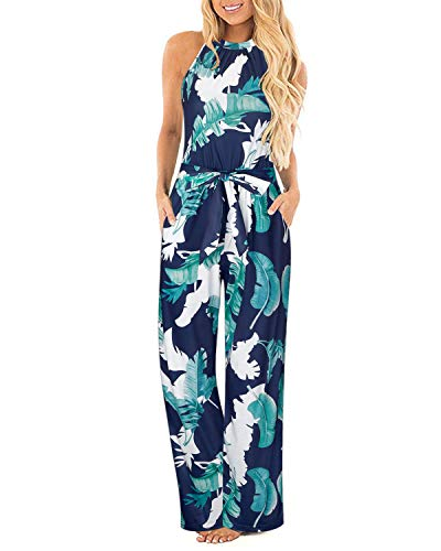 II ININ Women's Halter Neck Sleeveless Floral Long Jumpsuit Loose Belted Pants with Pocket(Floral01,XL)