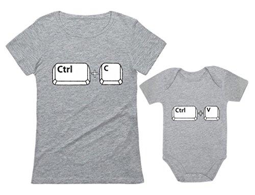Tstars Mom & Baby Girl/Boy Copy Paste Matching Set Women T-Shirt & Baby Bodysuit