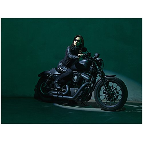 Agents of S.H.I.E.L.D. (8 inch by 10 inch) PHOTOGRAPH Ming-Na Wen Sitting on Black Motorcycle Sunglasses Green Background - L Agent Sunglasses