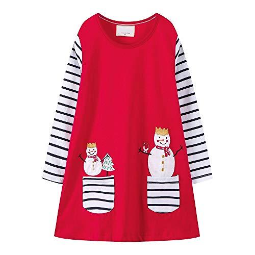 Snowman Mini Dress - Hongshilian Girls Cotton Long Sleeve Dresses