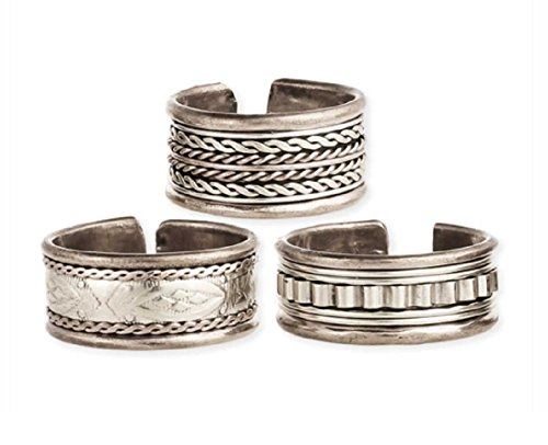 "Men's Antique Silver Tone Hammered Adjustable Rings, Ethnic Vintage Band, 3/8"" x 1/2"", By Zen Styles"
