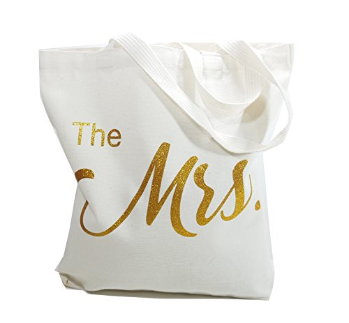 The Mrs. Canvas Tote Bag Wedding Bridal Shower Gifts By MeeTang (The Mrs Gold) by MeeTang