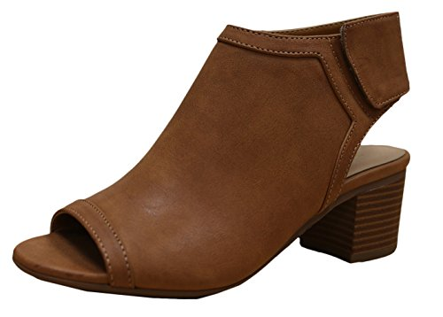 Tan Peep Toe (City Classified Women's Rolla Cutout Back Stacked Heel Peep Toe Bootie (6 B(M) US, Tan))