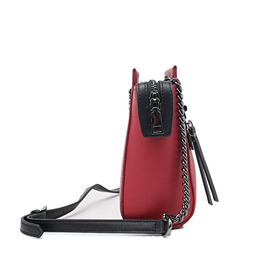 PU Sunbobo Handbag Red Square Zip Retro Shoulder Simple Bag wpqZ6
