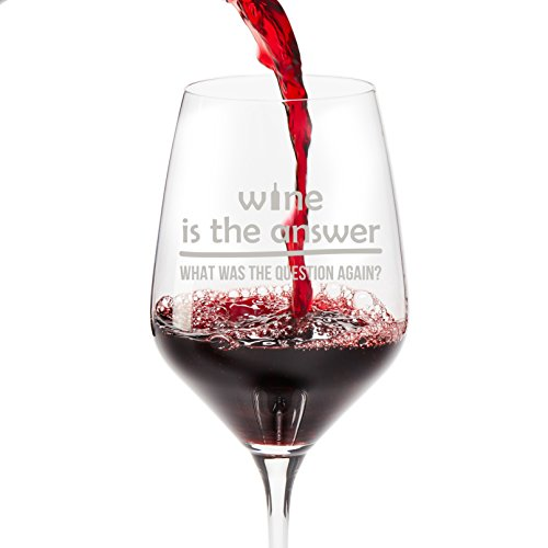 Funny Wine Glasses Unique Gifts: Wine is the Answer-What Was the Question Again, 18.5 oz Large Glass in Gift Box, Great Birthday or Christmas Gifts for Women and Men