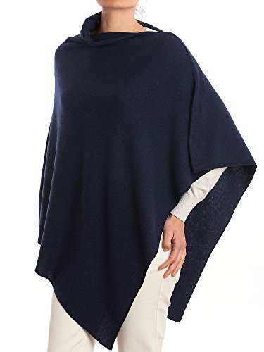 (DALLE PIANE CASHMERE - Poncho Cashmere Blend - Made in Italy, Color: Blue, One Size)